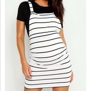 NEW Boohoo Maternity Stripe Pinafore Dress